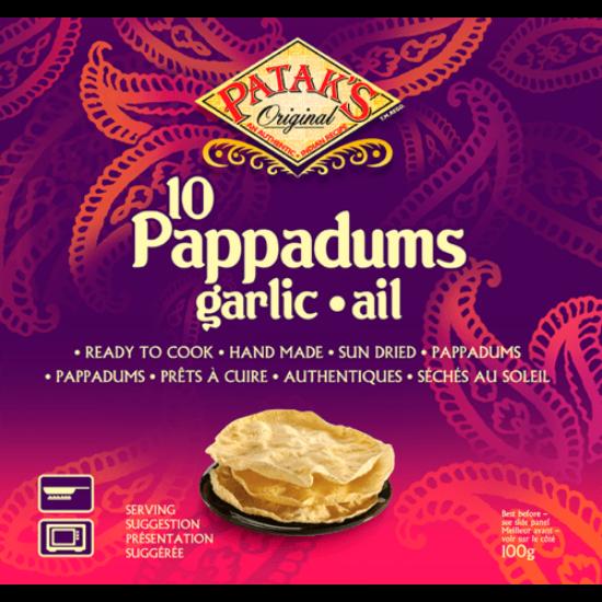 Pappadums Indiai kenyér fokhagymás